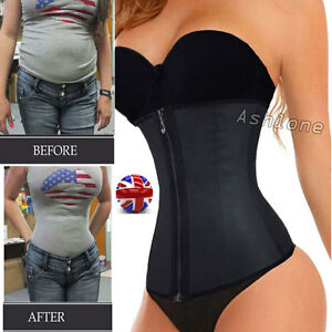 Uk Top Fashion Zipper Latex Rubber Waist Trainer Weight Loss Cincher