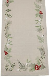 Midwinter-Holly-Berries-Embroidered-Christmas-Table-Runner-40cm-x-100cm