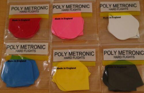 "/""Assorted/"" Poly Metronic Standard Shaped Hard Dart Flights 10 Sets 10x3"