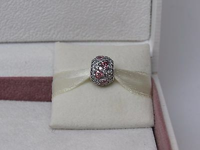 Authentic Silver Shimmering Heart Fancy Pink CZ/'s Charm Love Heart Bead