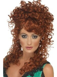 Long Ginger Saloon Girl Fancy Dress With Curly Perm Bar Girl Wench