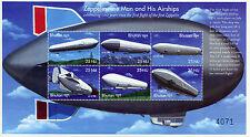 Bhutan 2000 MNH Zeppelin Man & His Airships 6v M/S III Zeppelins Aviation Stamps
