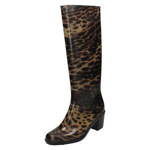 Mujer x1131 estampado leopardo Wellington Botas con 5.1cm Tacón por Ajustadas