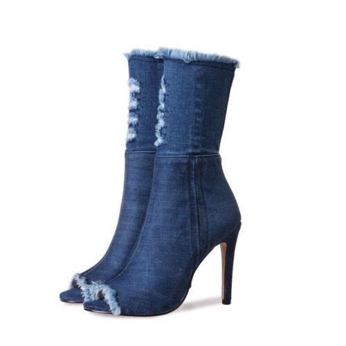 Talon Bouts Bleu 10 P Ouverts Cms hauteur Boots Denim Neuves 36 Sg7RFWwq