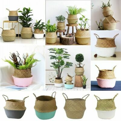 Seagrass Woven Storage Wicker Basket Flower Plants Straw Pots Bag For Home Decor