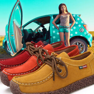 Fashion-Women-Lace-up-Suede-Leather-Shoes-Comfort-Loafers-Boat-Flat-Moccasin-New