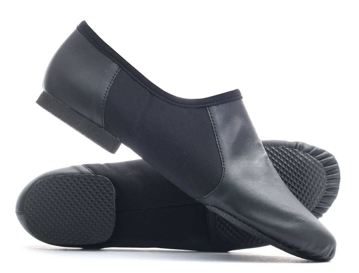 Black PU Pull On Rubber Split Sole Jazz Dance Practice Shoes By Katz All Sizes