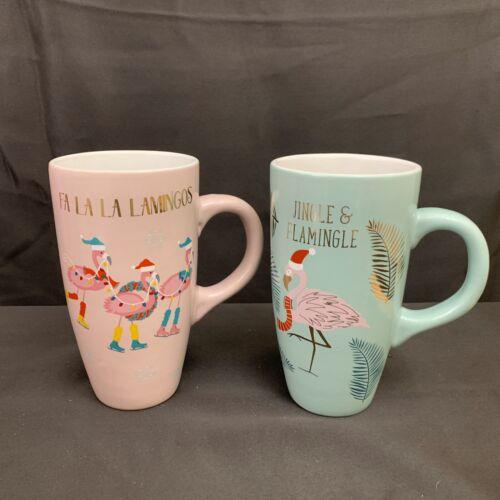 2 Sheffield Home JIngle & FA LA LA Flamingo Tall Christmas Coffee Mugs Cups