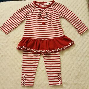 c3e83c76384d7 BEAUTIFUL! Le Top 12 Month Baby Girls Christmas Outfit Red White ...