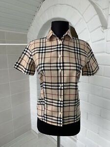 Women-039-s-Burberry-London-Beige-Full-Nova-Check-Short-Sleeve-Shirt-US-4-UK-8