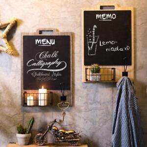 Wood Framed Chalkboard Blackboard Wall Mount Memo Chalk