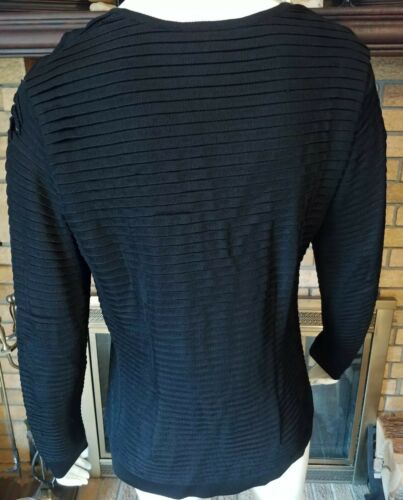 Cardigan V 40 Button Ribbed Sort Neck Størrelse Layered Nwt Escada Up 980 711328389424 COwqZXpO6