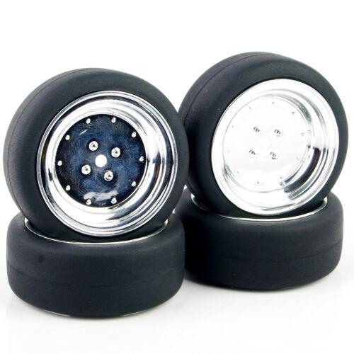4x 1:10 RC HSP HPI On-Road Car Flat Drift Wheels /& Rubber Tires PP0338+PP0107