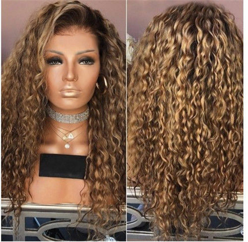 New Women Fashion Afro Long Kinky Curly Hair Wavy Wigs Blonde Wig Party Ladies