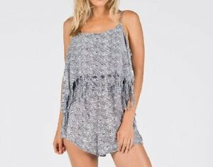 Volcom-Swim-Cover-Romper-Sz-L-Black-White-Urban-Tribe-Fringe-Cover-Up-06211501