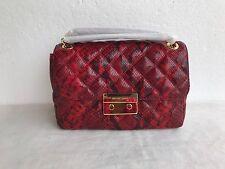 Michael Kors Sloan Large Chain Shoulder Snake Embossed Leather Shoulder Bag Red