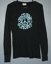 Peace Love Mom black long sleeve shirt blue writing peace womens size S