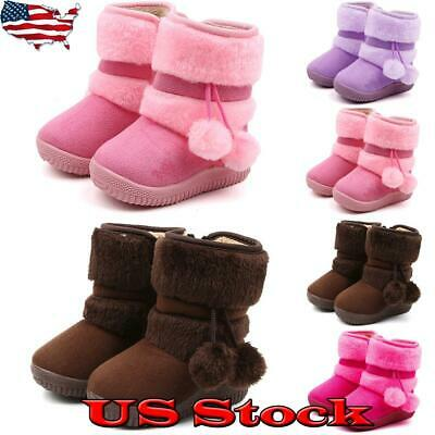 Girls Kids Ankle Boots Winter Fur Lined Rabbit Ear Children Toddler Snow Shoes