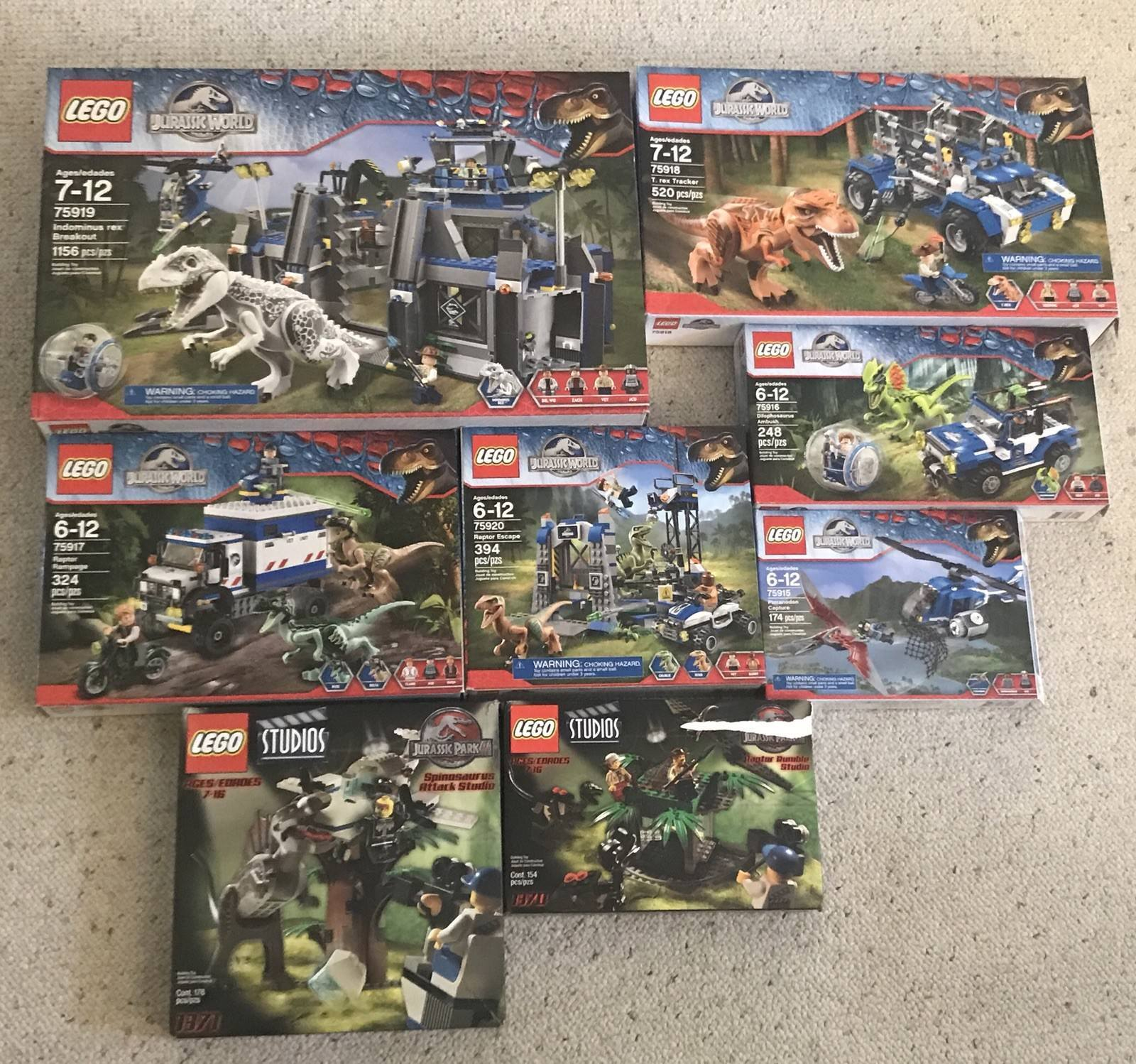 8 Jurassic Park 3 And Jurassic World Lego Sets Complete Retired 2001 2015 Rare