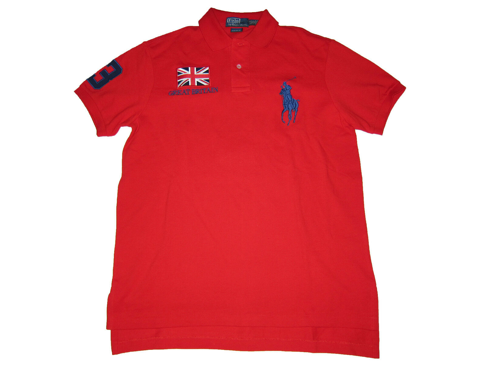 Polo Ralph Lauren Big Pony Red Great Britain Flag Polo Rugby Shirt Large L