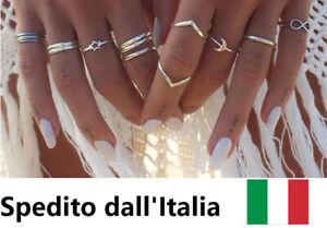Set-Anelli-Anello-Donna-Ragazza-Bohemian-Colore-Argento-Oro-Estate-Ring-Set