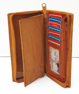 Tan-Genuine-Leather-Card-Checkbook-Cover-Zip-Around-Clutch-Wallet-Men-Lady
