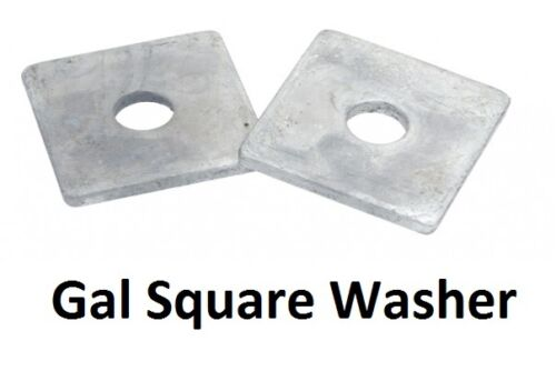 Qty 50 Square Washer M12 12mm x 65mm x 65mm x 5mm Galvanised HDG Galv SQR