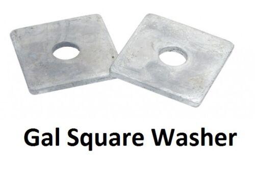 x 50mm x 50mm x 3mm Galvanised HDG Galv SQR 10mm Qty 20 Square Washer M10