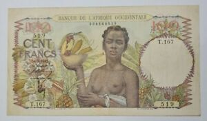 1945 French West Africa 100 Francs @ GVF 【P-37】
