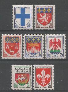FRANCE-1958-serie-Blasons-YT-n-1180-a-1186-Neufs-luxe-MNH