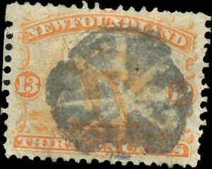 Used-Canada-Newfoundland-1865-1894-F-VF-13c-Scott-30-Ship-Stamp