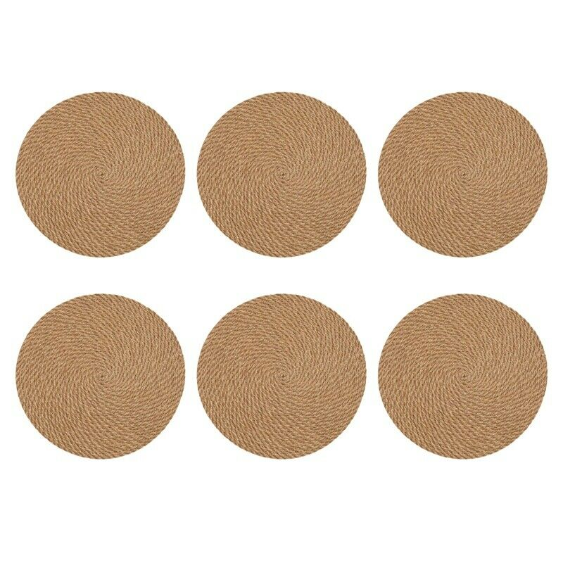 Round Woven Placemats Set of 6 Jute Hand Made 7 inch Heat beständigy 8