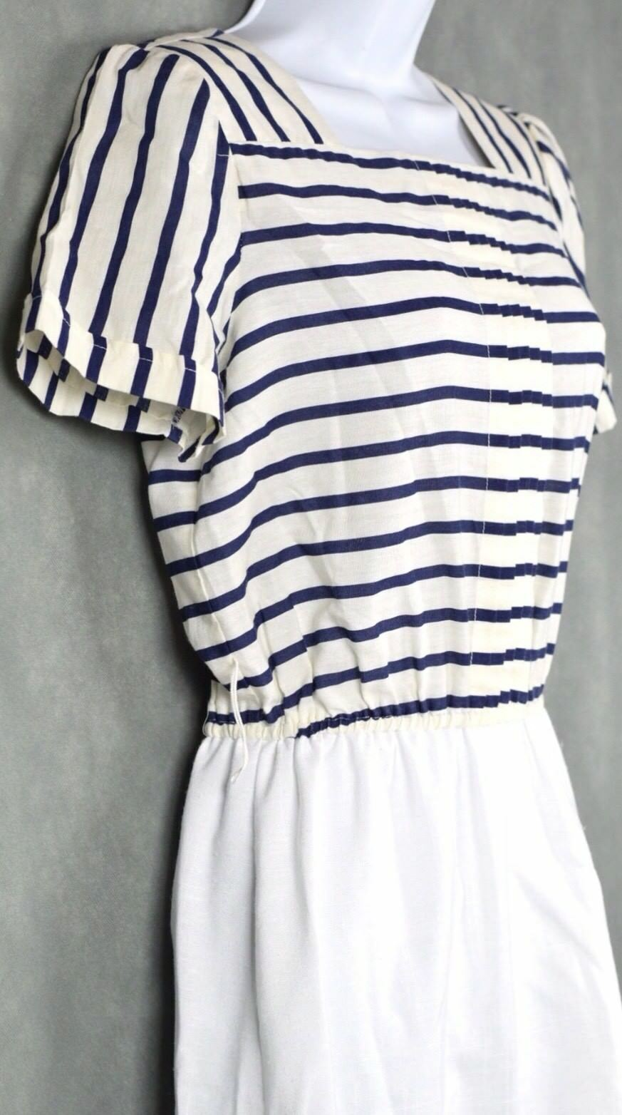Vintage No Brand White And Blue Dress Lot Size 12 - image 7