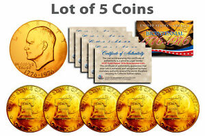Bicentennial-1976-Eisenhower-IKE-Dollar-Coin-24K-GOLD-PLATED-w-Capsules-QTY-5