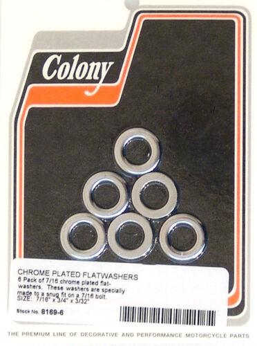 """Flat Washer 7//16/"""" x 3//4/"""" x 3//32/"""" Chrome Colony 8169-6"""