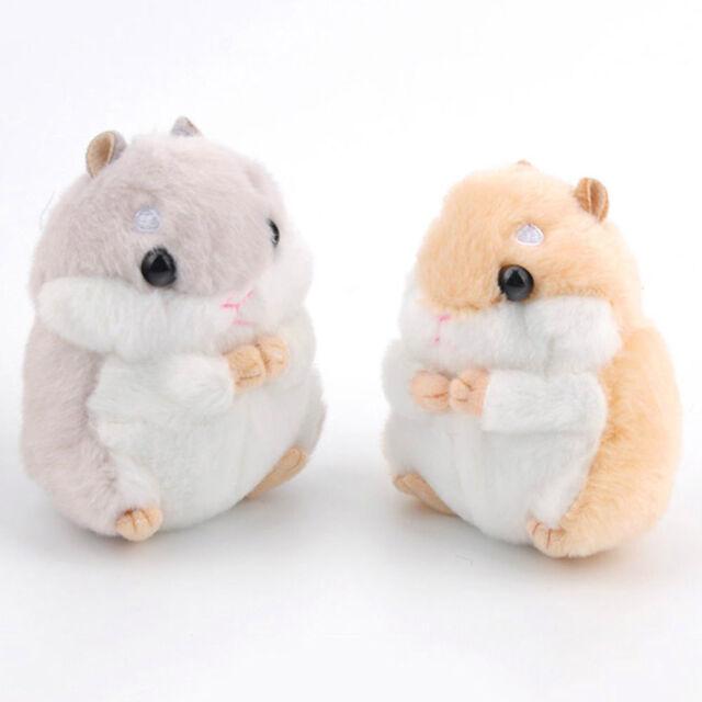 Cute Hamster Plush Key Chain Mini Stuffed Animal Pendant Decoration, Light Brown