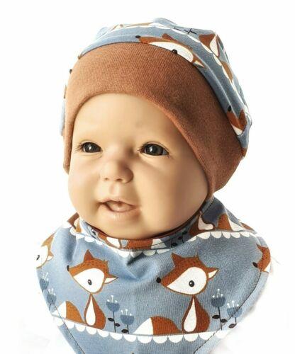 Set Mütze und Halstuch Fox Baby Kind  Mädchen Handmade