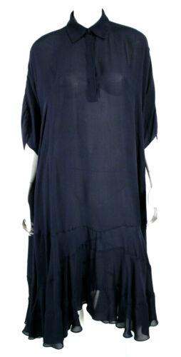VALENTINA KOVA Midnight Blue Sheer Silk Crepe Over