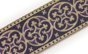 Gold-on-Purple-2-25-034-Vestment-Jacquard-Trim-Pugin-Cross-3-Yds-Chasuble-Orphrey
