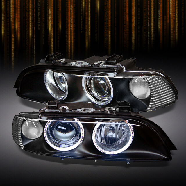 FITS BLACK 97-03 E39 5-SERIES DUAL HALO PROJECTOR HEADLIGHTS LIGHTS LEFT+RIGHT