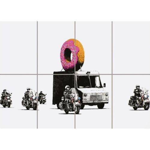 "Banksy Donut Doughnut Graffiti Wall Art Multi Panel Poster Picture Print 47X33/"""