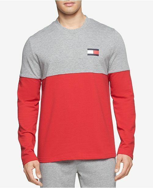 $182 TOMMY HILFIGER MEN'S RED GRAY CREW-NECK LOGO PULLOVER SWEATER SIZE L