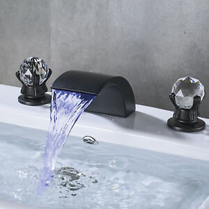 Oil Rubbed Bronze Widespread Bathroom Faucet Waterfall 3 Holes Sink