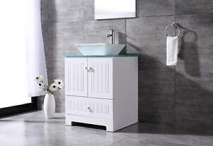 24 Single White Pvc Bathroom Vanity Cabinet Vessel Sink W Mirror Drain Set 817739029895 Ebay