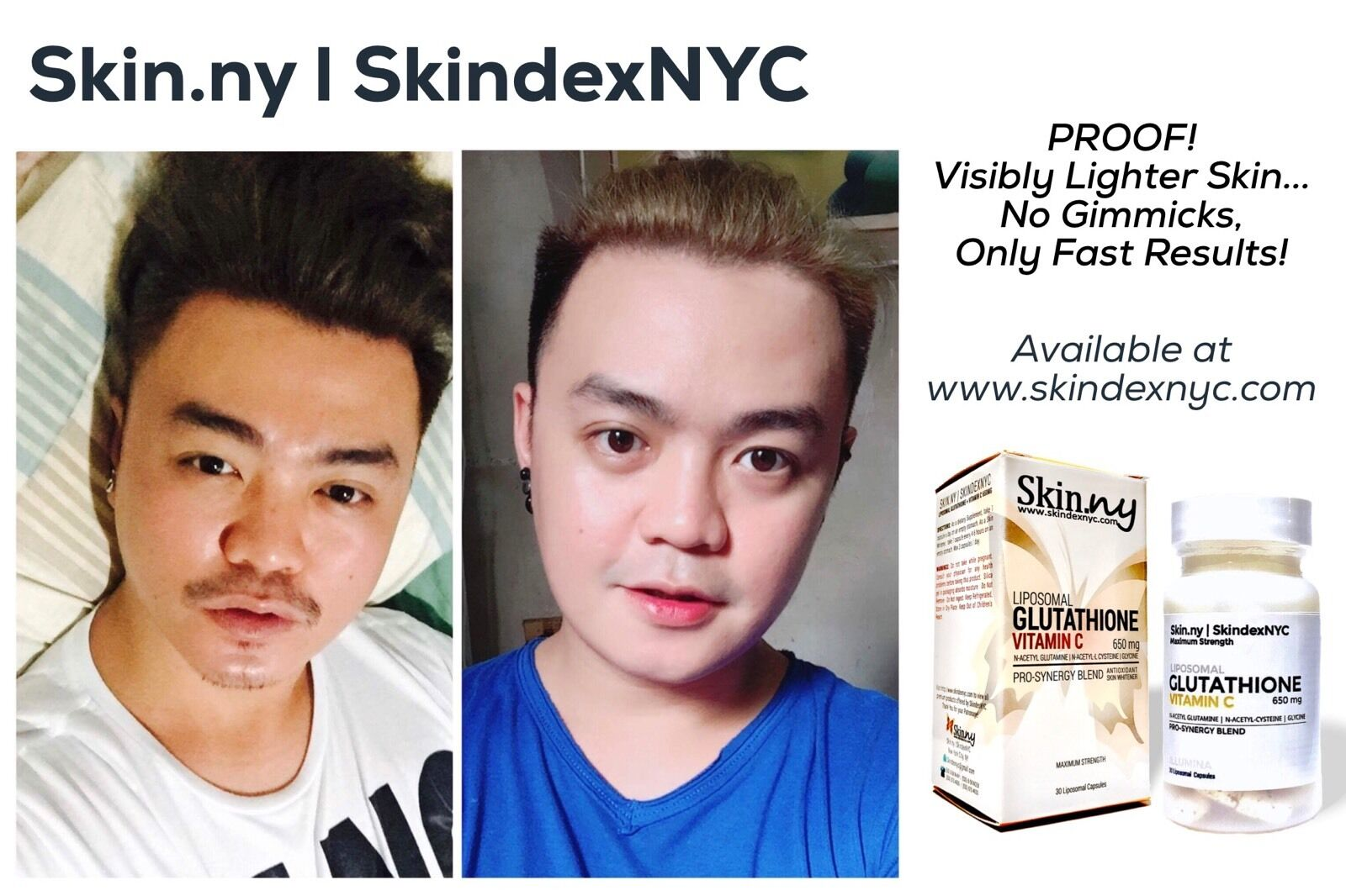 2 Bottles Skindexnyc Liposomal Glutathione and Vitamin C 650mg (save )