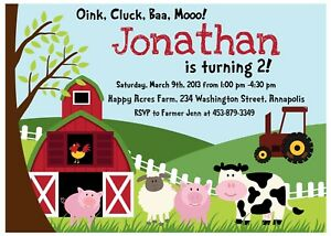 Details About Farm Animal Petting Zoo Birthday Party Invitation