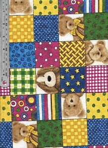 Details about Puppy teddy bear quilting cotton fabric squares 1 yard pce  Boyds Collection