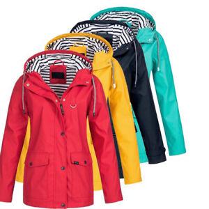 Women-Utility-Waterproof-Raincoat-Windproof-Rain-Jacket-Hooded-Outwear-Travel-US