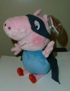 Ty Beanie Baby - GEORGE in Super Hero (Superhero) Costume (UK Peppa Pig) MWMT