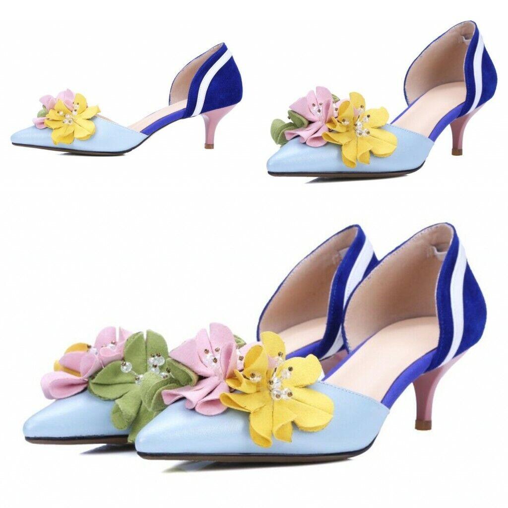 Womens High Heel Stiletto Pointed toe Flower Decor Formal Dress shoes Sandals SZ